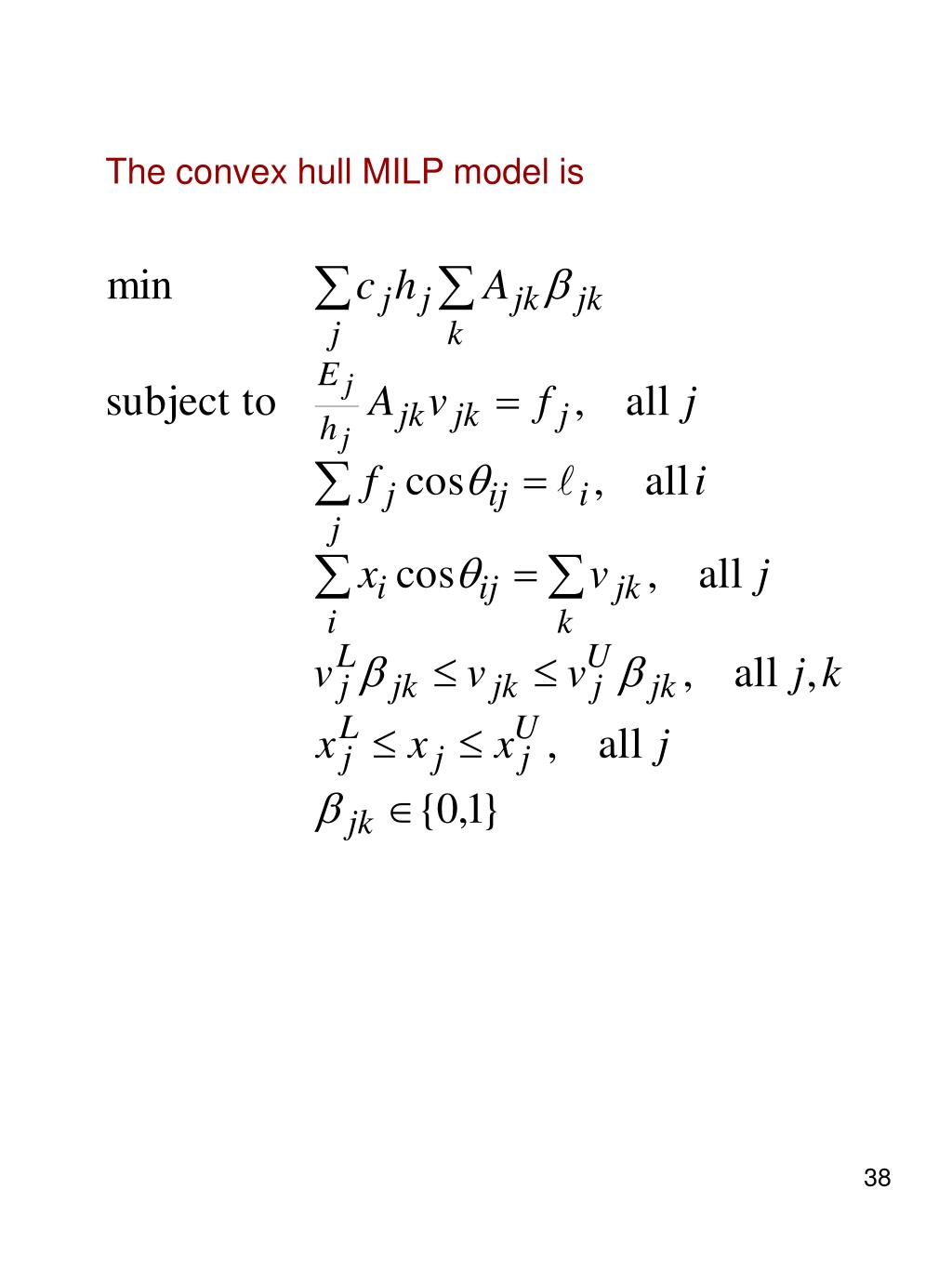 The convex hull MILP model is