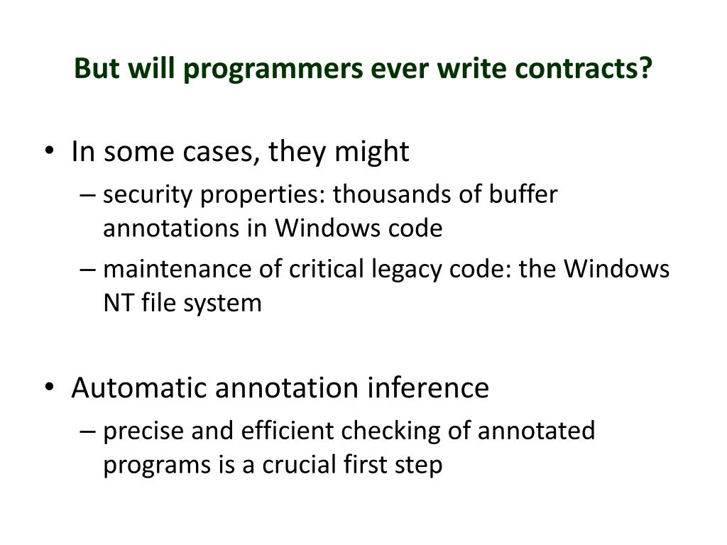 But will programmers ever write contracts?