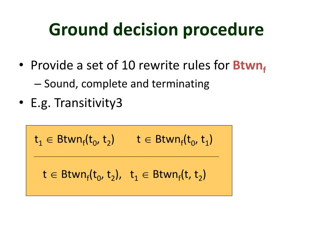 Ground decision procedure