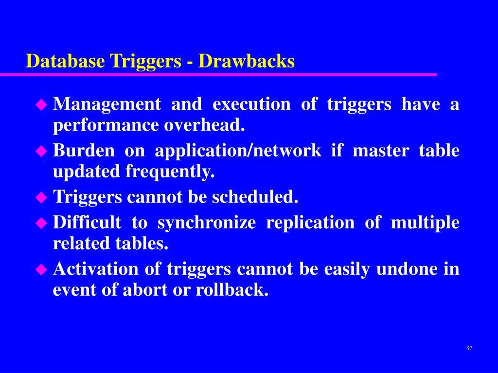 Database Triggers - Drawbacks