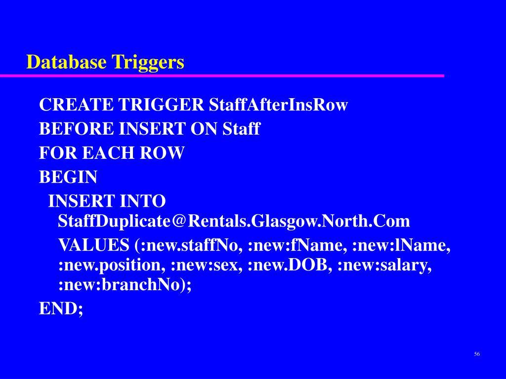 Database Triggers