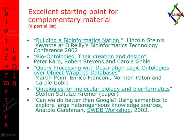 Excellent starting point for complementary material a partial list