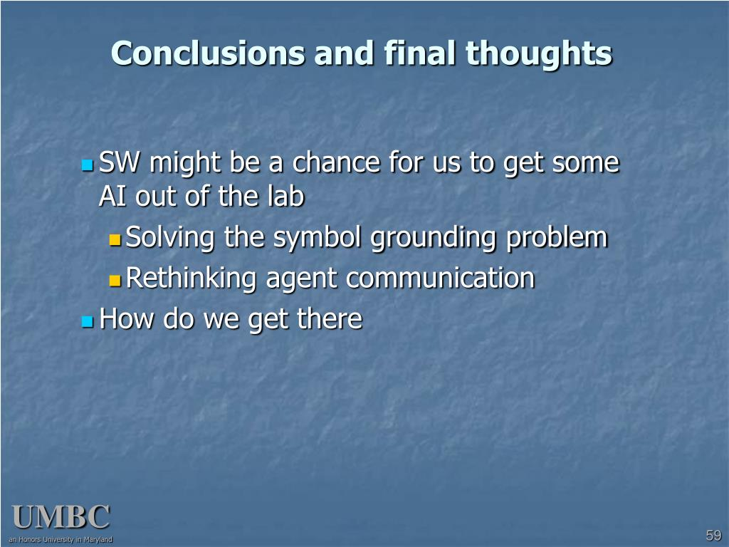 Conclusions and final thoughts