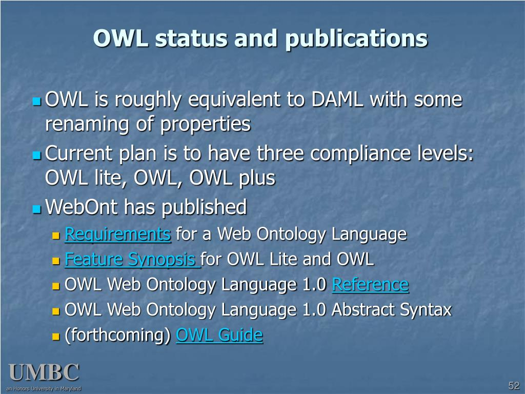 OWL status and publications