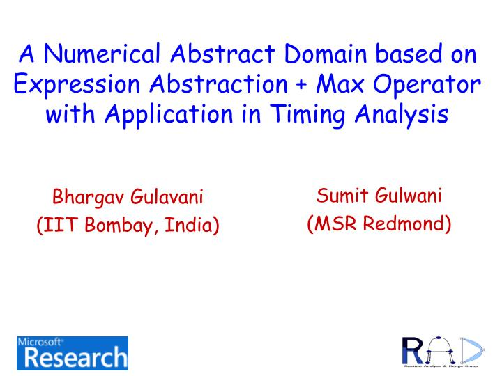 A Numerical Abstract Domain based on Expression Abstraction + Max Operator with Application in Timin...