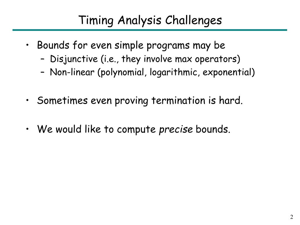 Timing Analysis Challenges