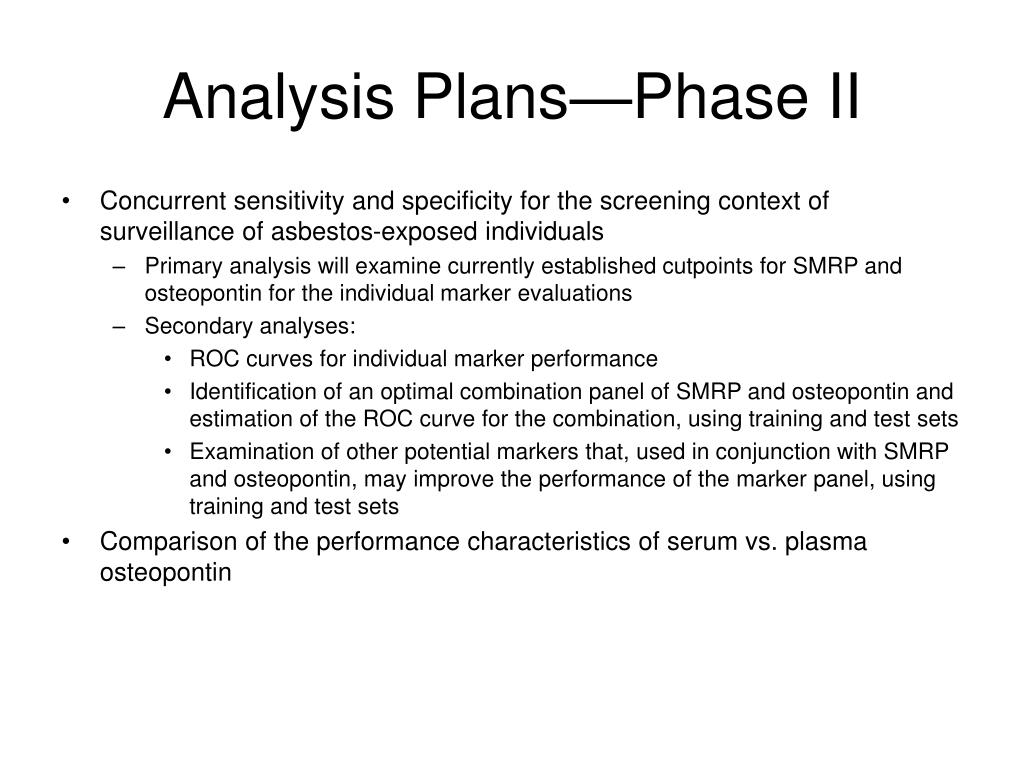 Analysis Plans—Phase II