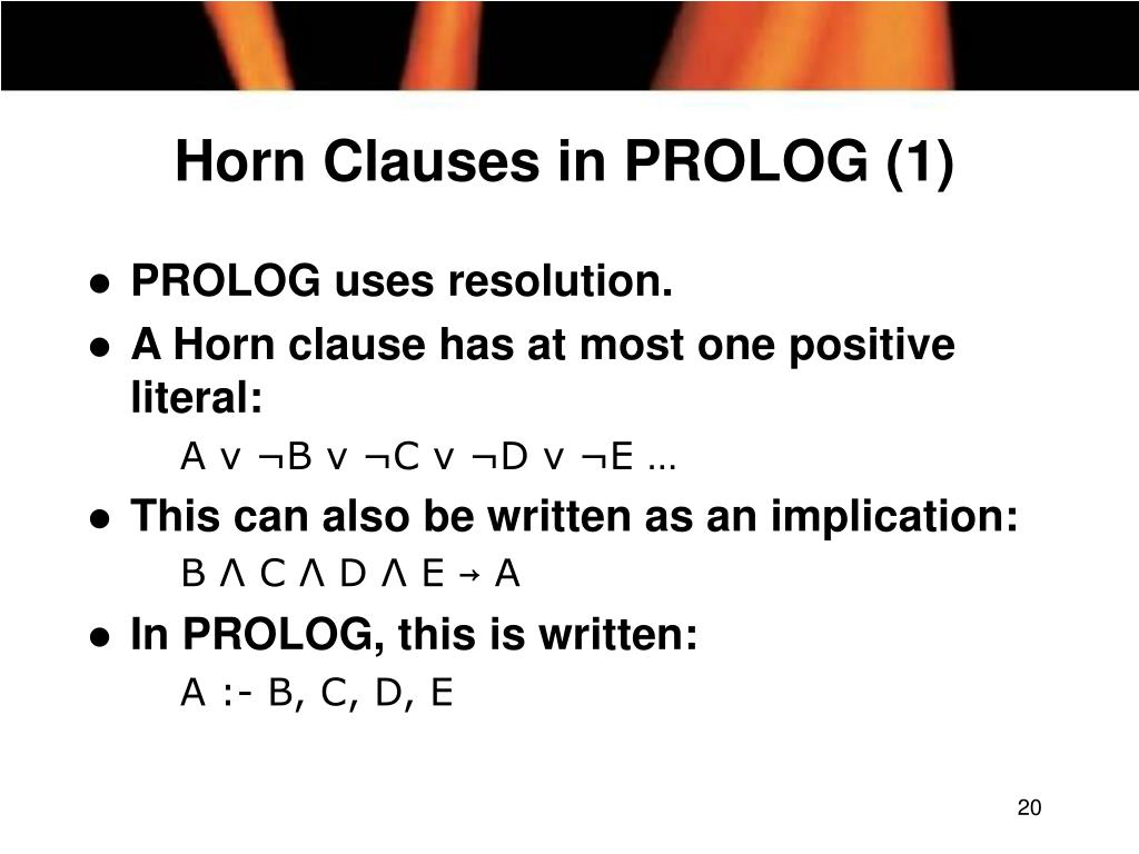 Horn Clauses in PROLOG (1)
