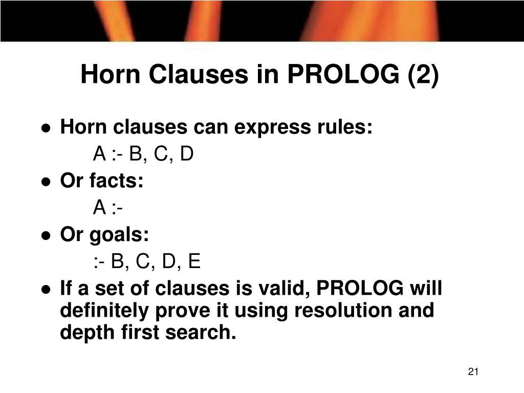 Horn Clauses in PROLOG (2)