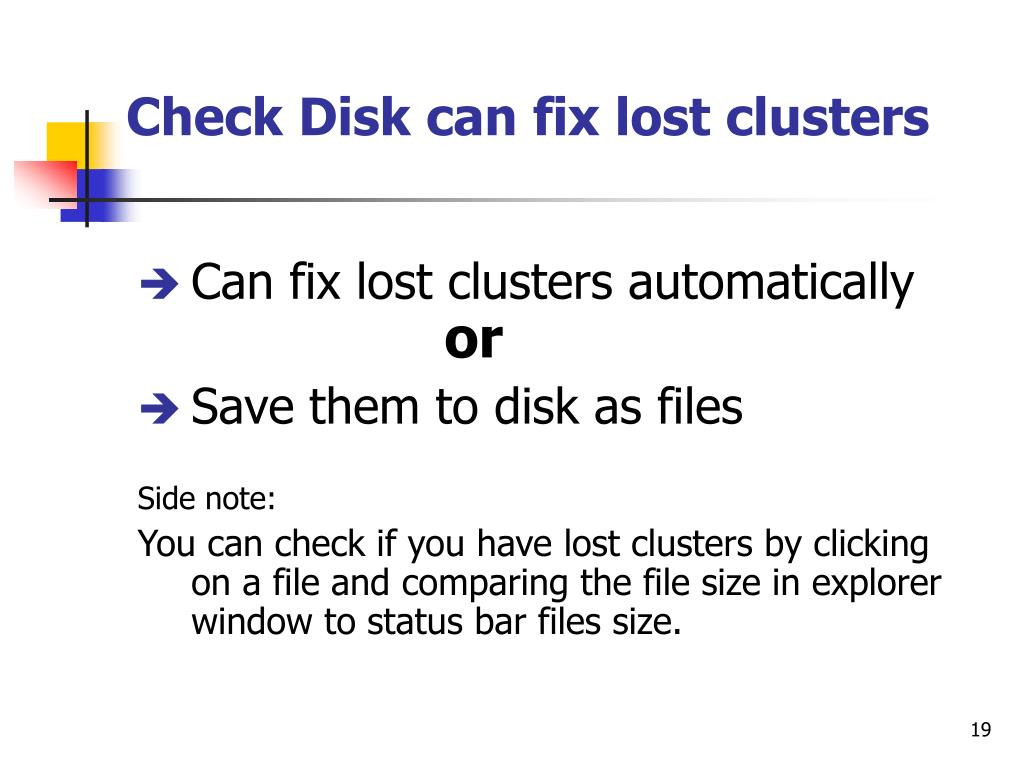 Check Disk can fix lost clusters