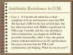 antibiotic resistance in o m18