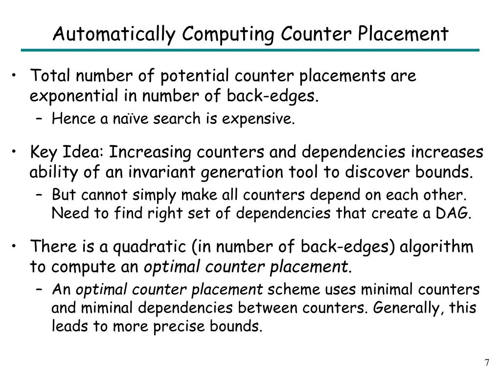 Automatically Computing Counter Placement