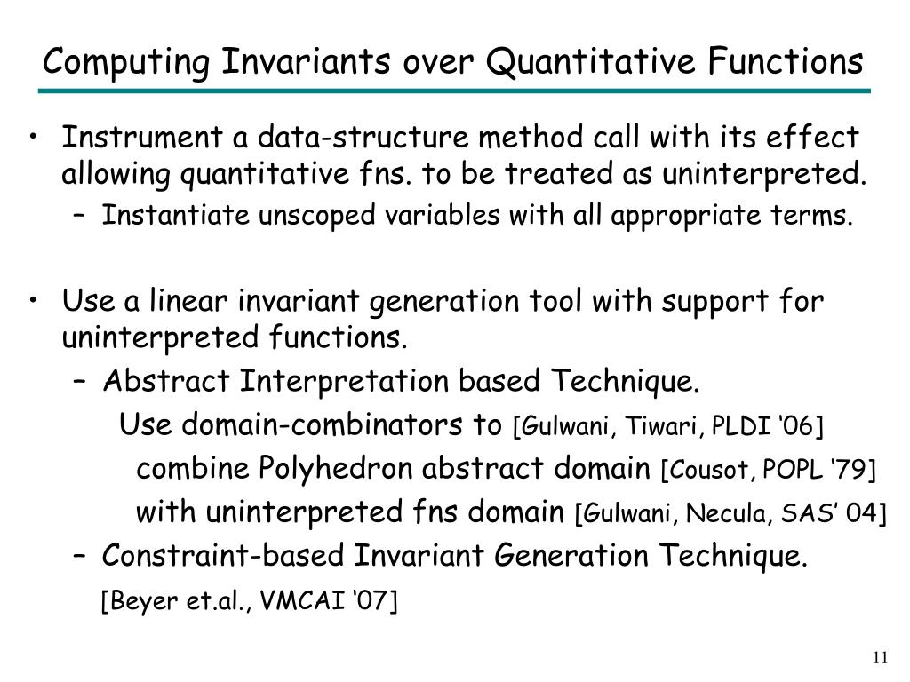 Computing Invariants over Quantitative Functions