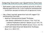 computing invariants over quantitative functions
