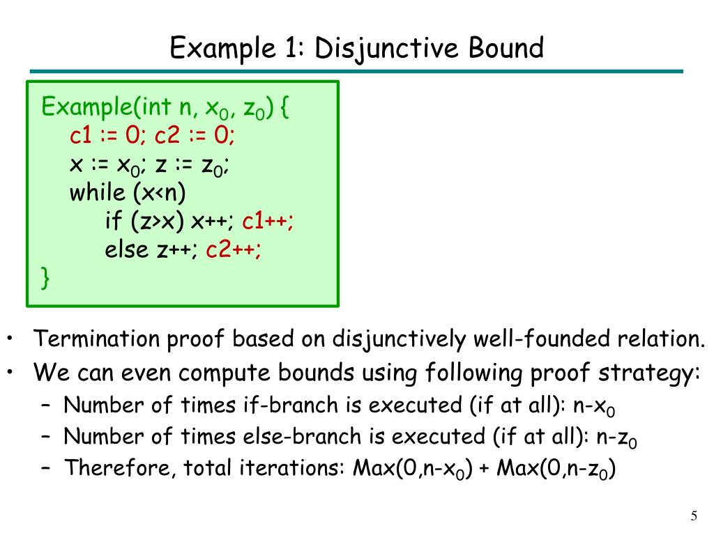 Example 1: Disjunctive Bound