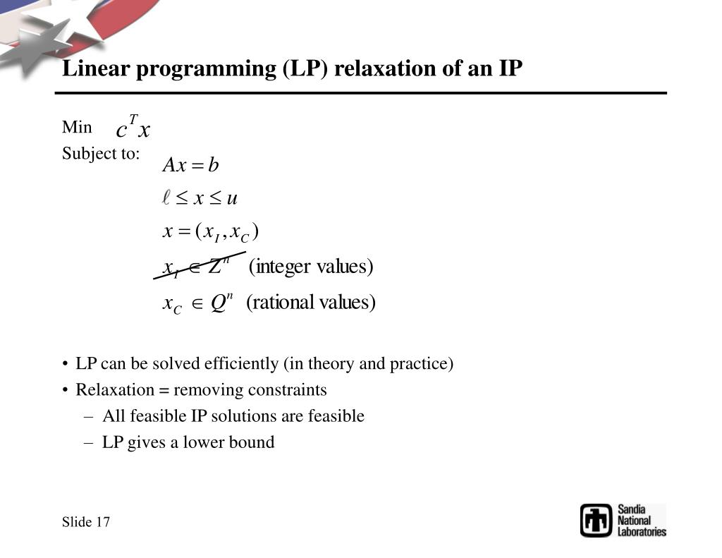 Linear programming (LP) relaxation of an IP