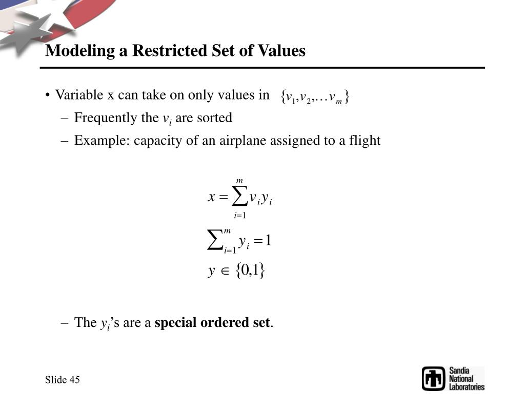 Modeling a Restricted Set of Values