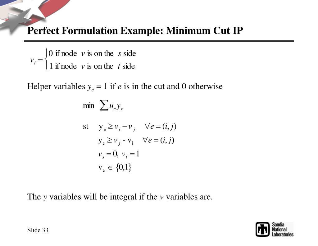 Perfect Formulation Example: Minimum Cut IP