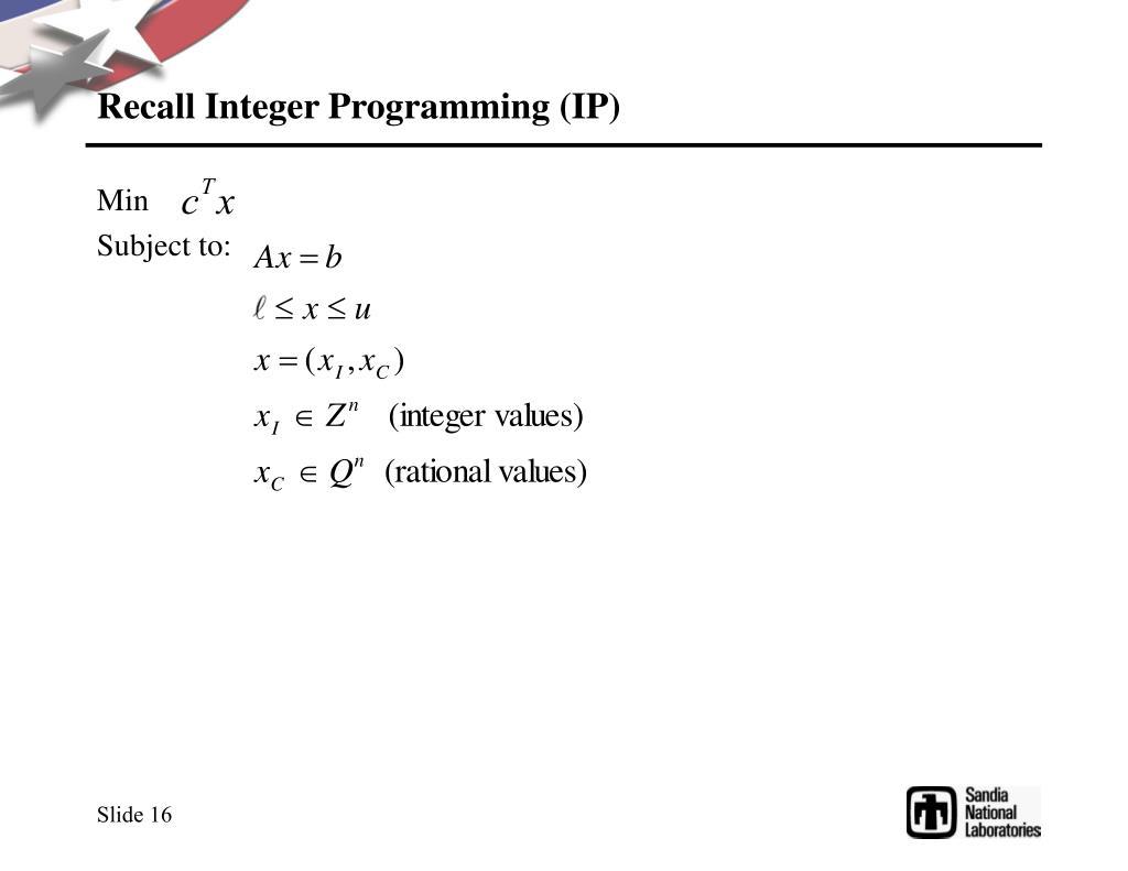 Recall Integer Programming (IP)