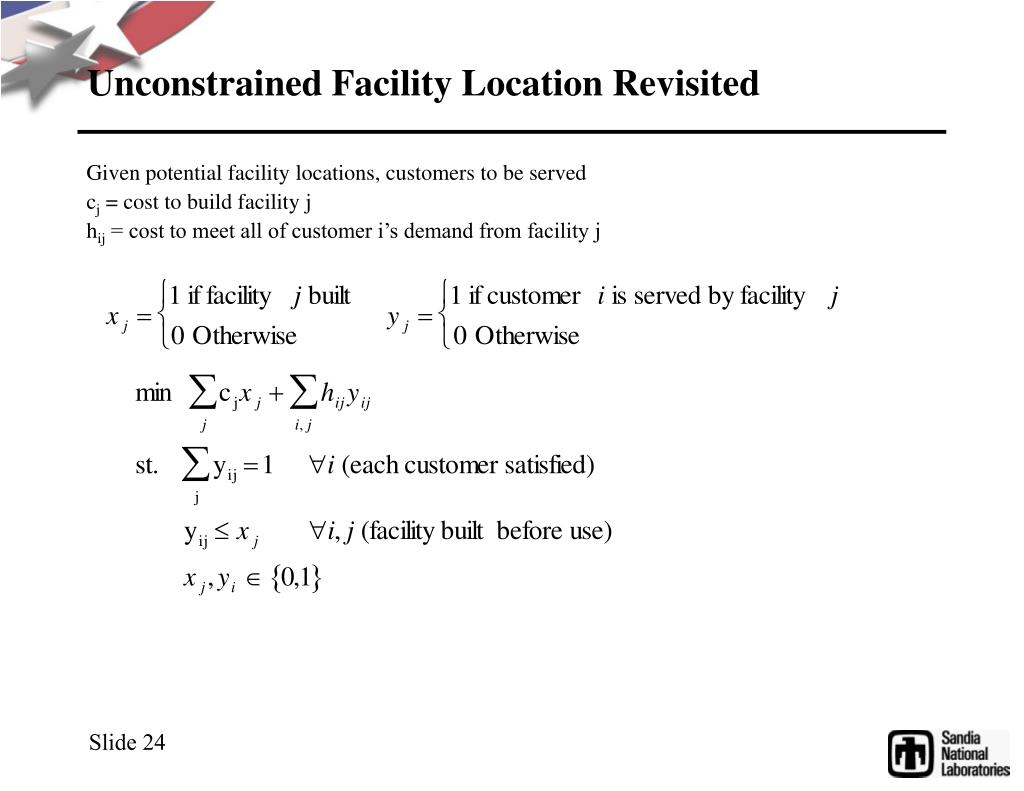 Unconstrained Facility Location Revisited