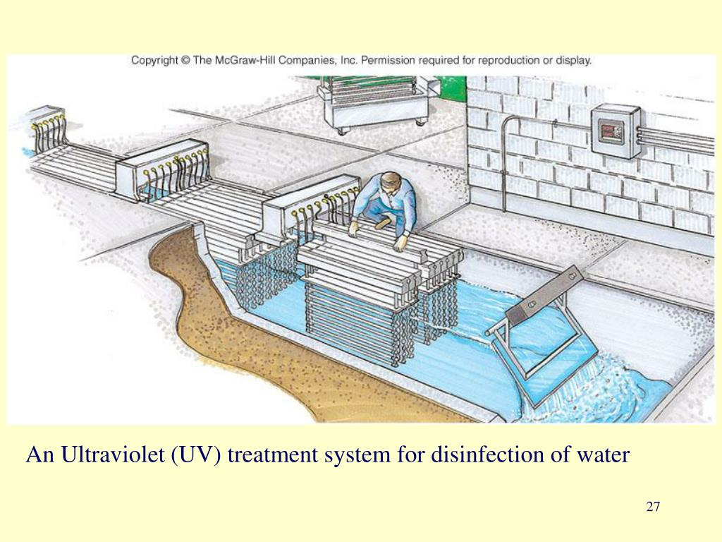 An Ultraviolet (UV) treatment system for disinfection of water