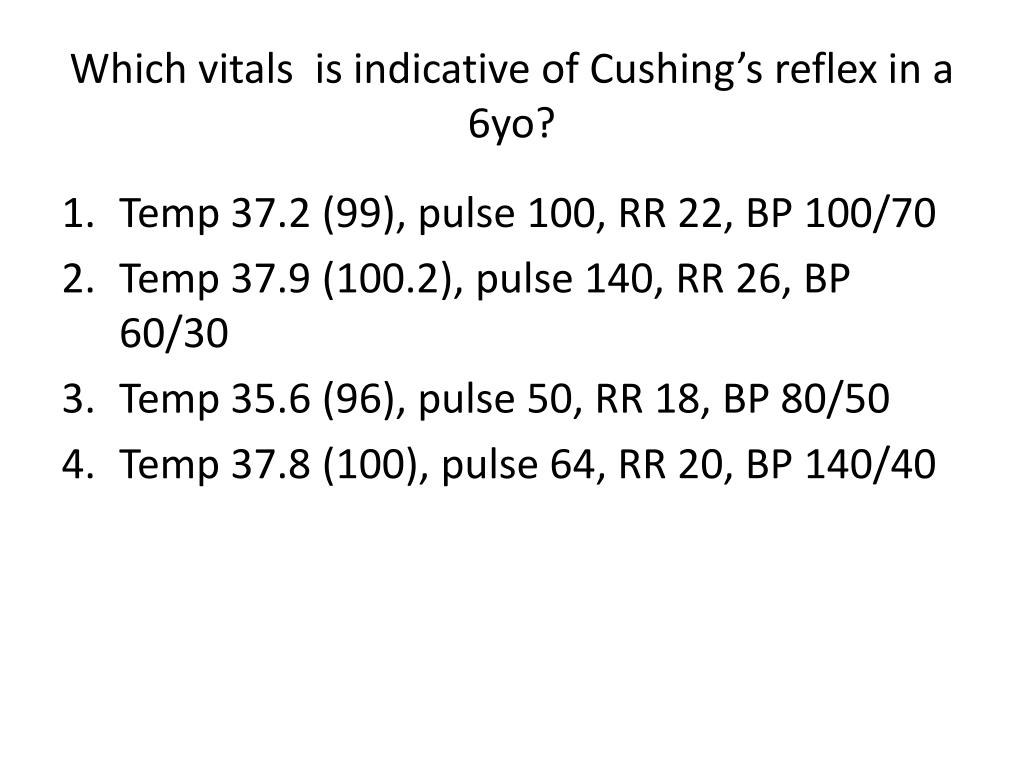 Which vitals  is indicative of Cushing's reflex in a 6yo?