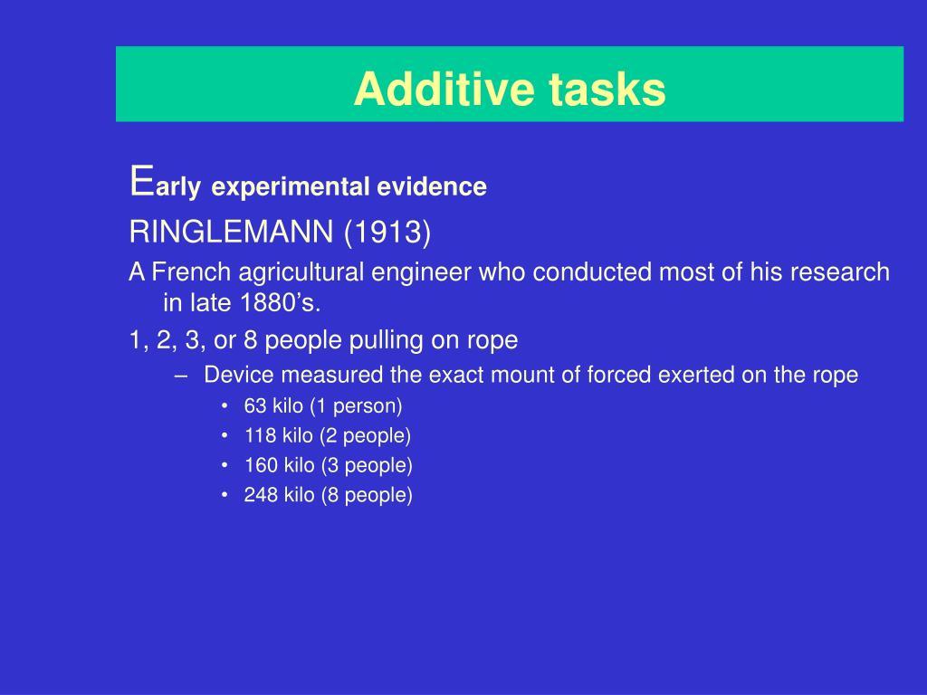 Additive tasks