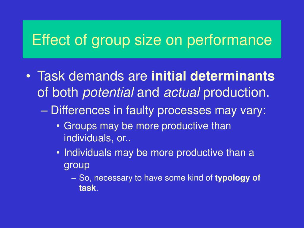 Effect of group size on performance