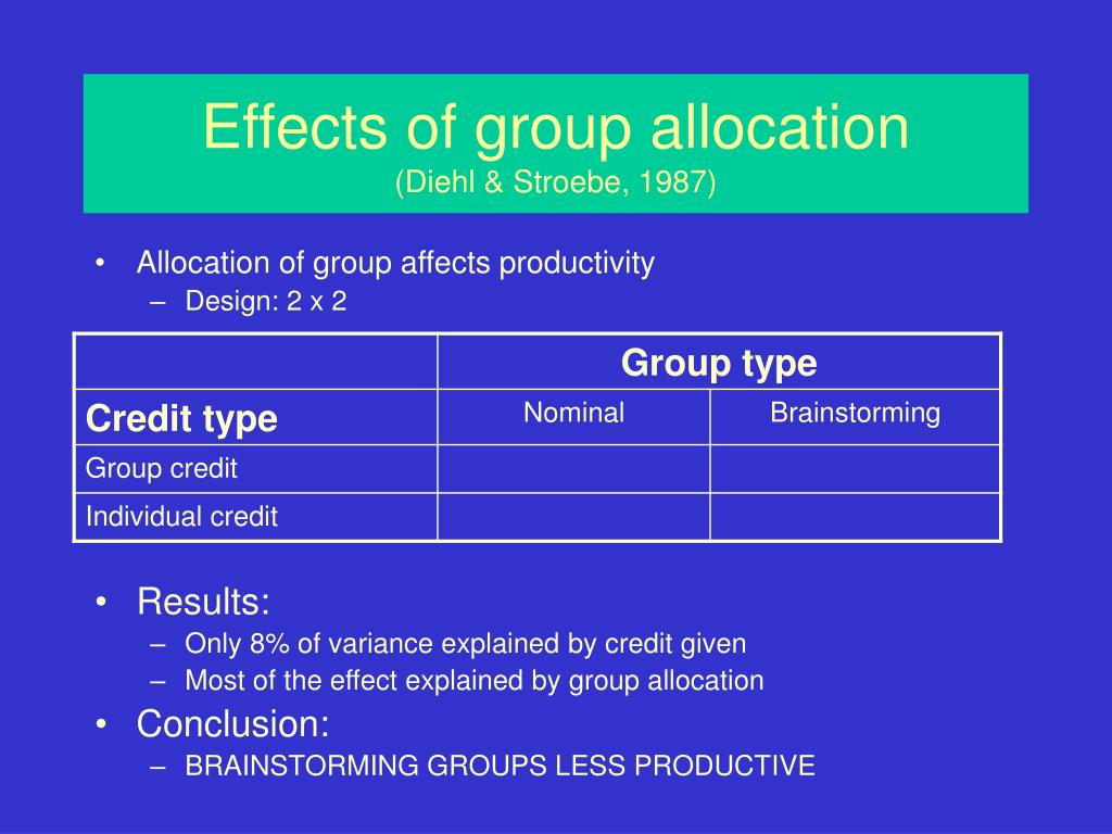 Effects of group allocation