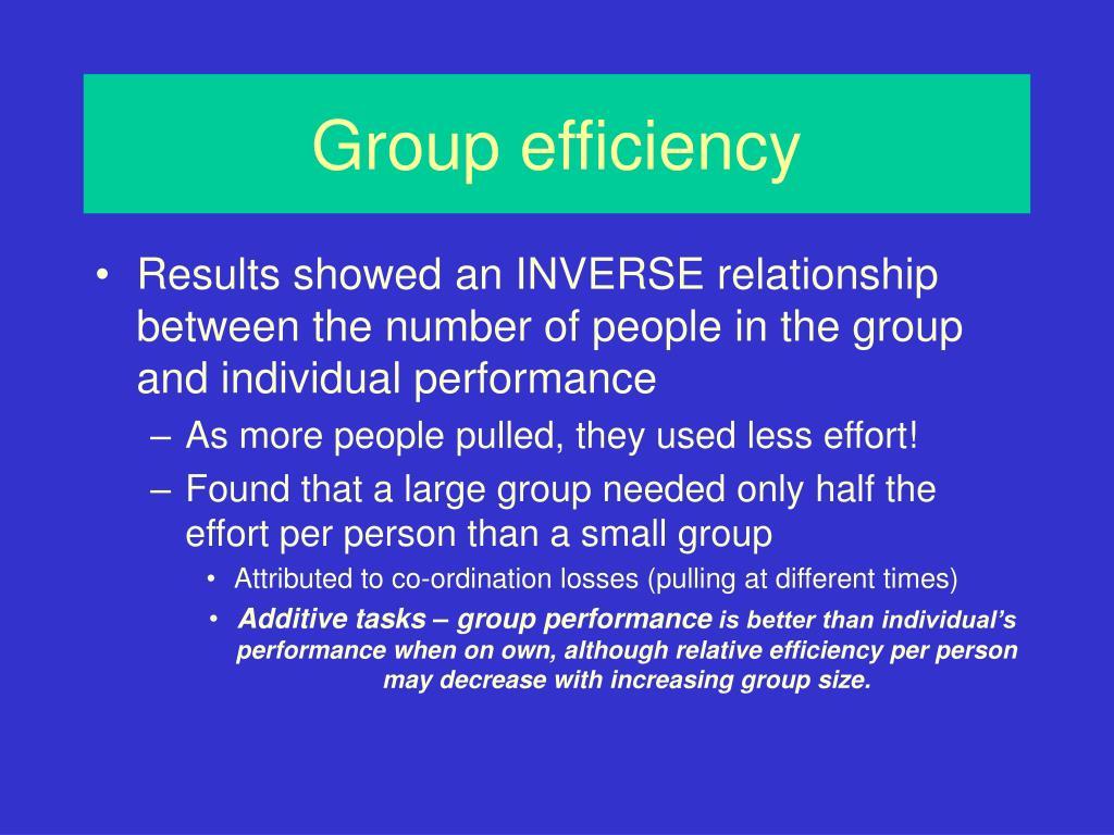 Group efficiency