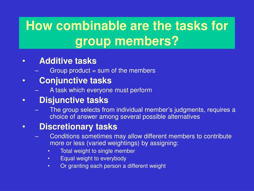 How combinable are the tasks for group members?