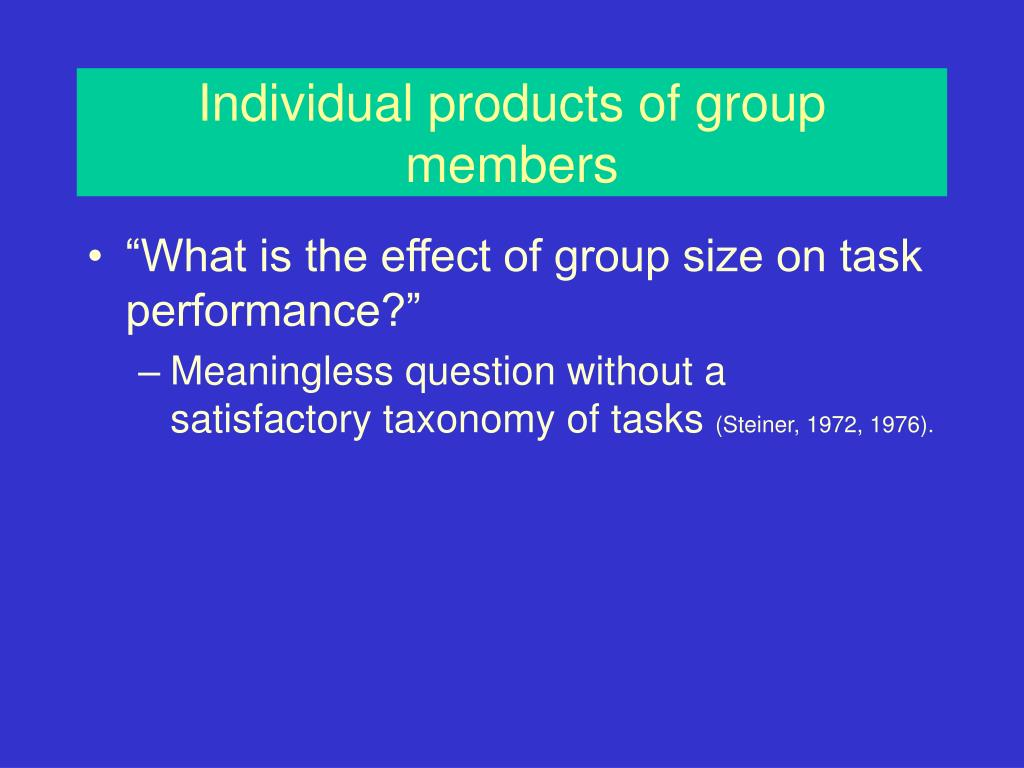 Individual products of group members