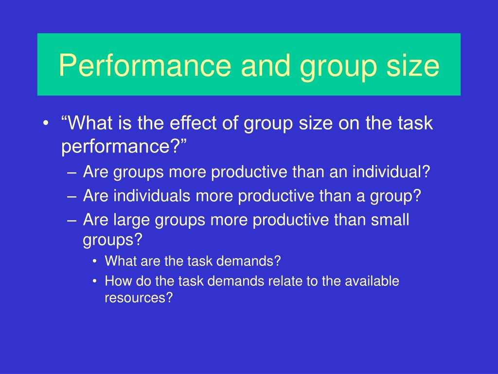 Performance and group size