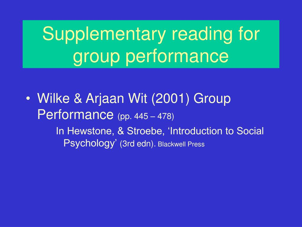 Supplementary reading for group performance