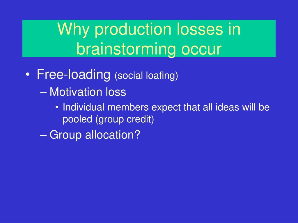 Why production losses in brainstorming occur