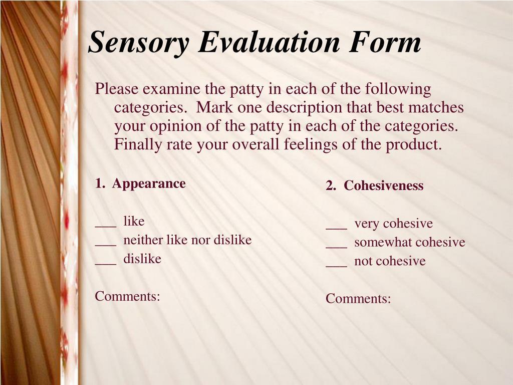 Sensory Evaluation Form