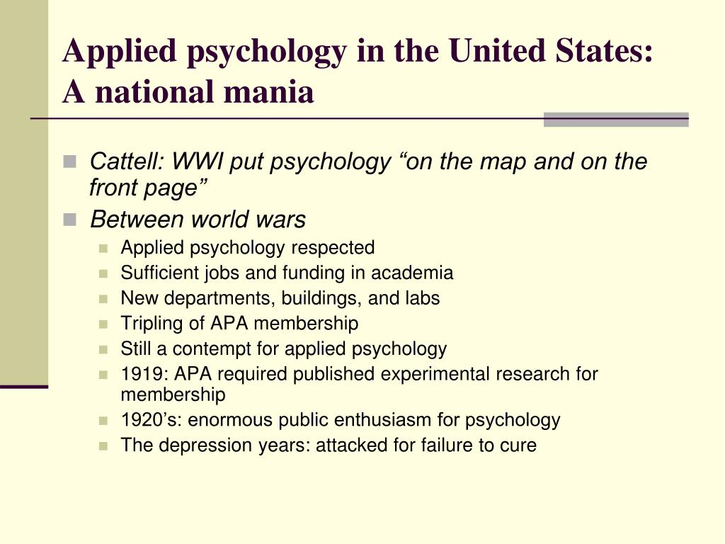 Applied psychology in the United States: A national mania