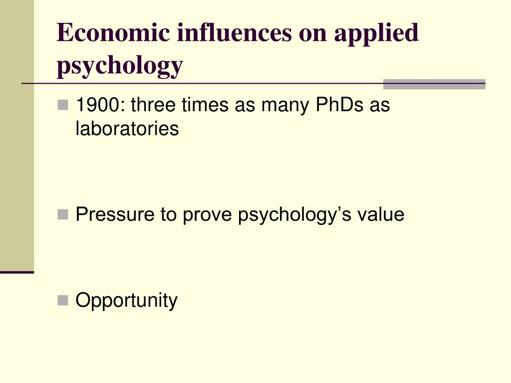 Economic influences on applied psychology