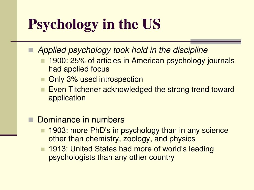 Psychology in the US