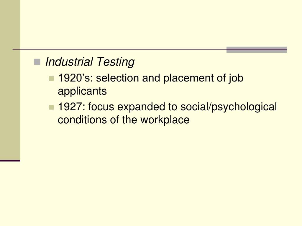 Industrial Testing