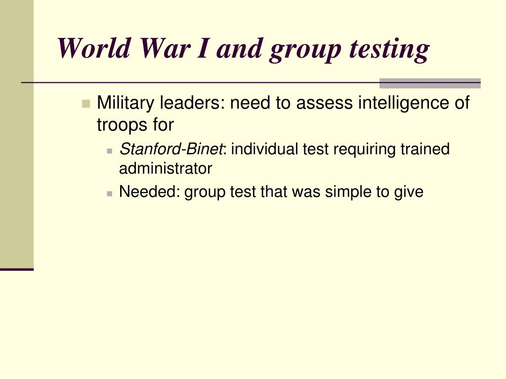 World War I and group testing