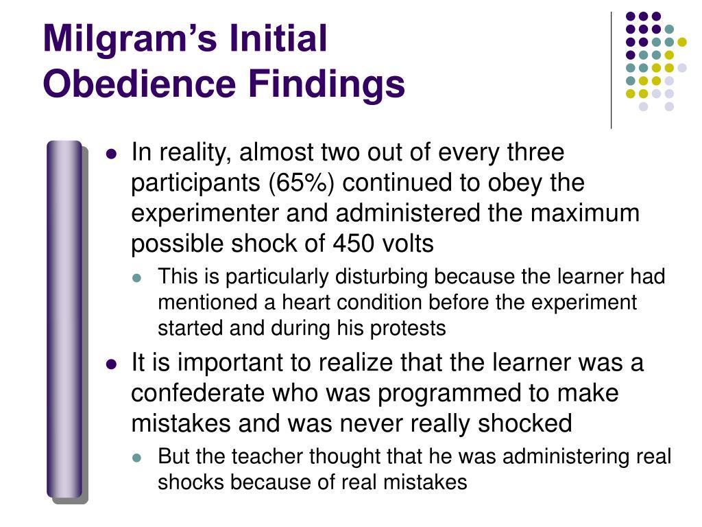 Milgram's Initial