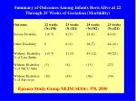 summary of outcomes among infants born alive at 22 through 25 weeks of gestation morbidity