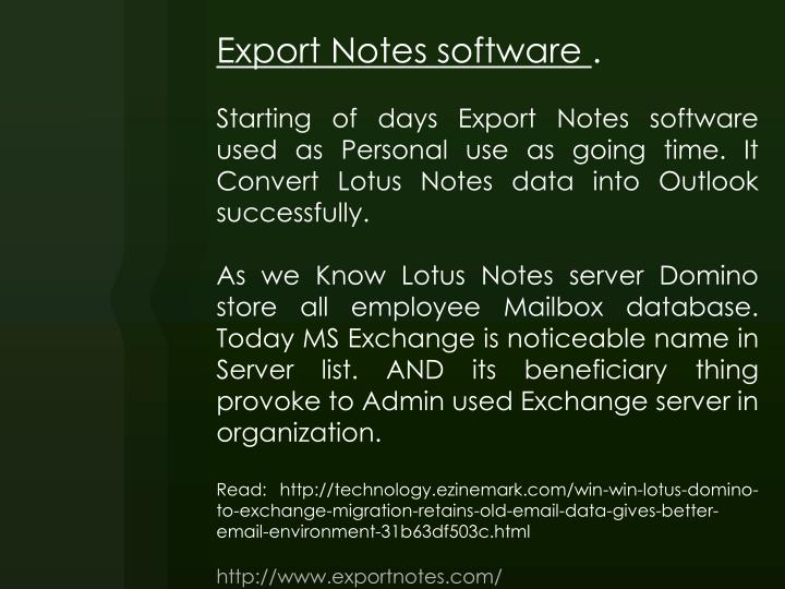 Export Notes software