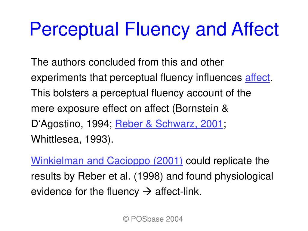 Perceptual Fluency and Affect