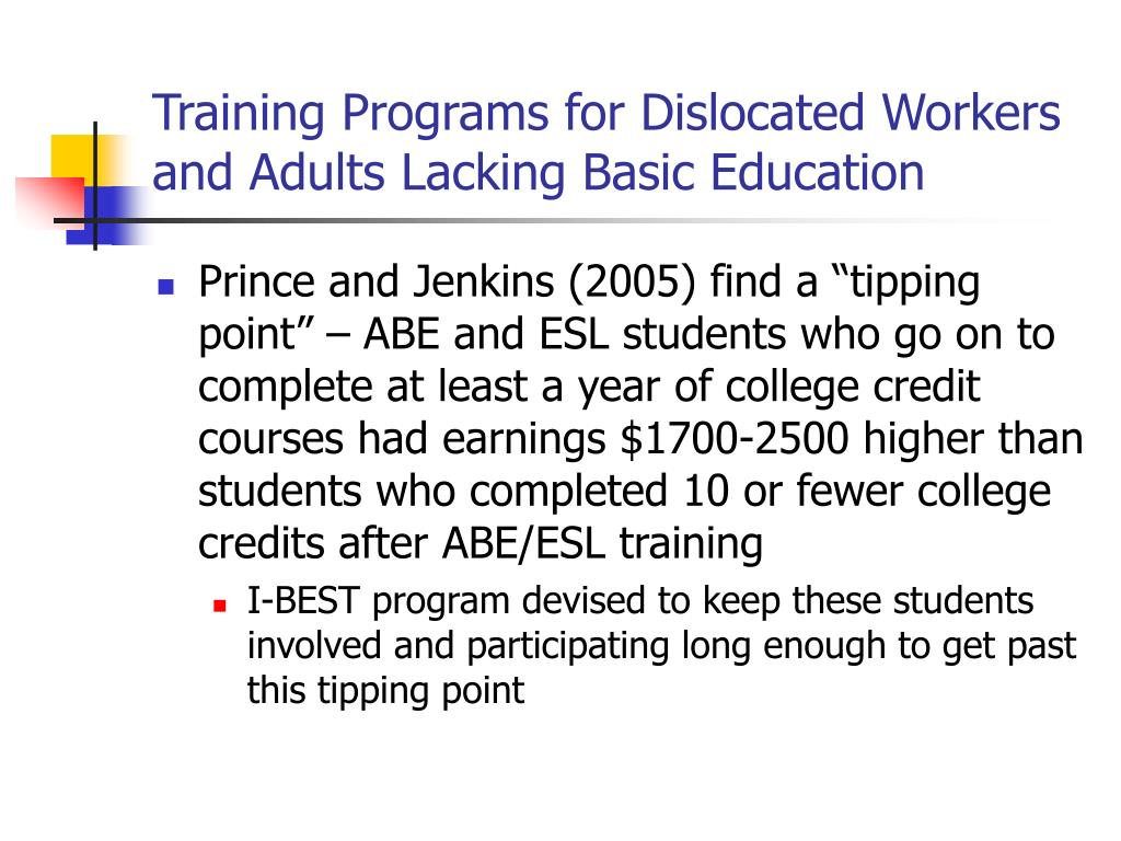 Training Programs for Dislocated Workers and Adults Lacking Basic Education