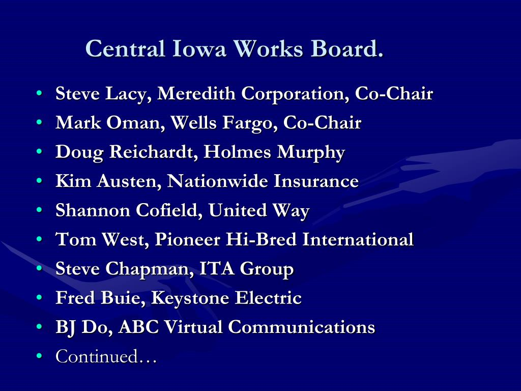 Central Iowa Works Board.