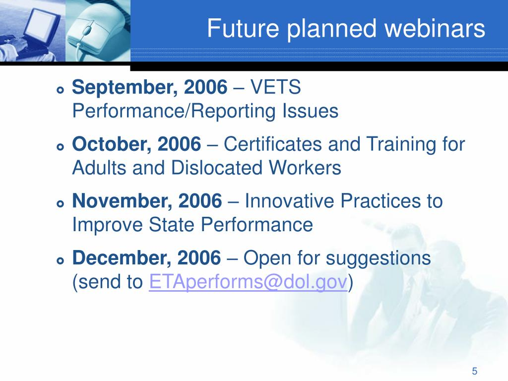 Future planned webinars