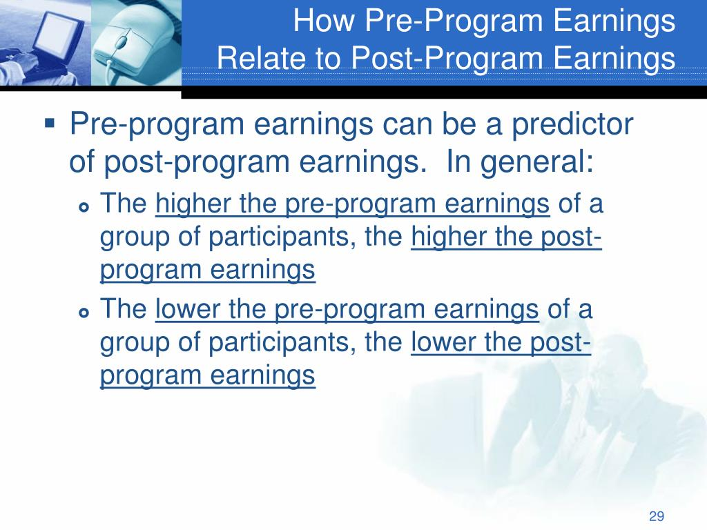 How Pre-Program Earnings Relate to Post-Program Earnings