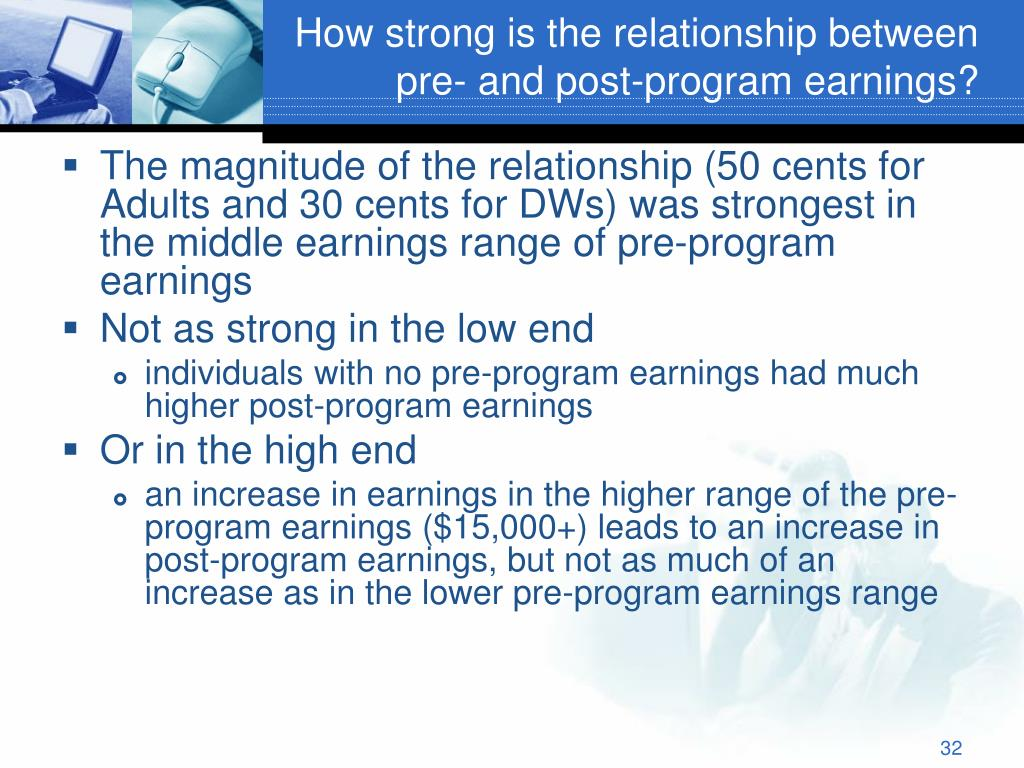 How strong is the relationship between pre- and post-program earnings?
